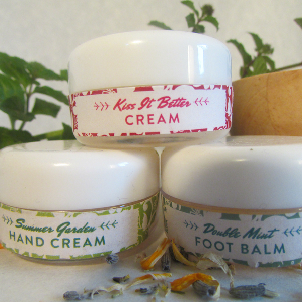 Trial Trio: Summer Garden Hand Cream, Double Mint Foot Balm & Kiss It Better Balm