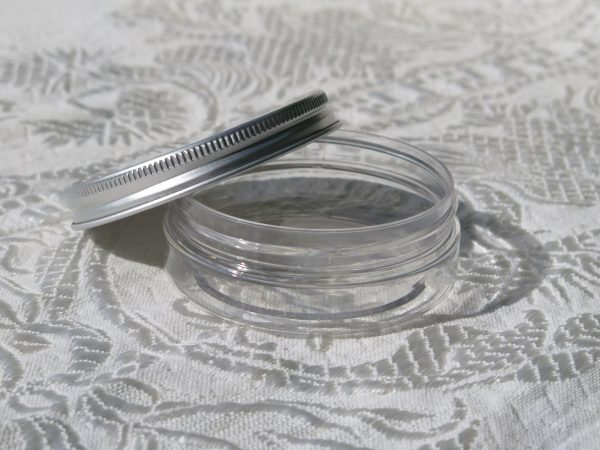 50ml PET pot with aluminium lid (lid off)