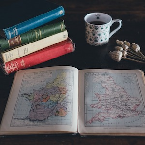 Old books and map