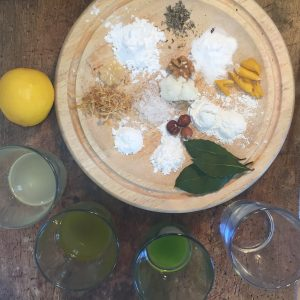 Ingredients for Blend it Yourself deodorant, from a recipe the book Vital Skincare.